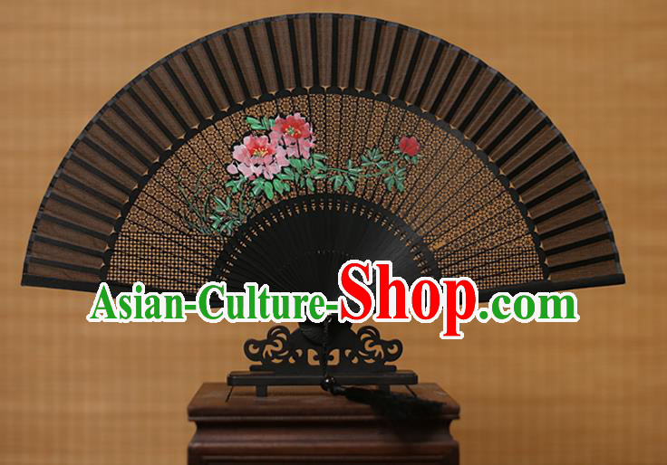 Traditional Chinese Crafts Hand Painting Peony Folding Fan, China Handmade Black Silk Fans for Women