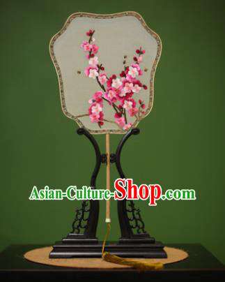 Traditional Chinese Crafts Suzhou Embroidery Silk Fan, China Palace Fans Princess Embroidered Peach Blossom Fans for Women