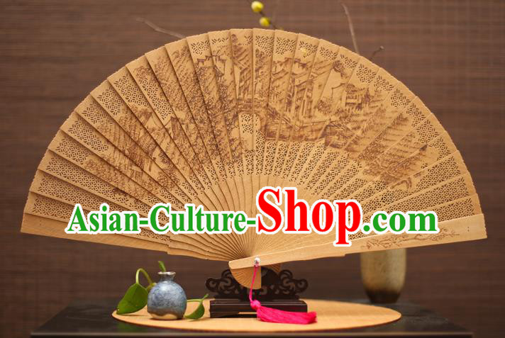 Traditional Chinese Crafts Sandalwood Folding Fan, China Handmade Hollow Out Incienso Fans for Women