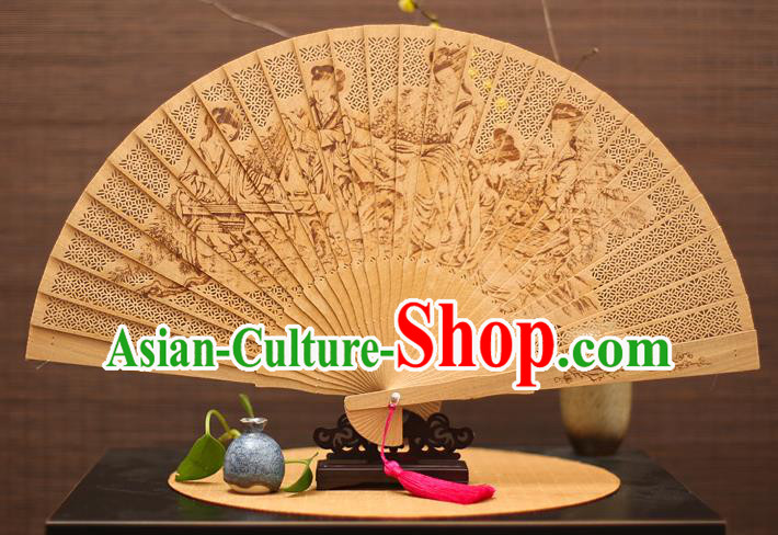 Traditional Chinese Crafts Sandalwood Folding Fan, China Handmade Hollow Out Fairy Incienso Fans for Women