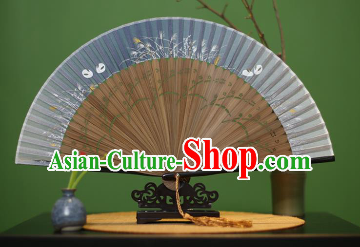 Traditional Chinese Crafts Printing Orchid Classical Folding Fan, China Handmade Blue Silk Fans for Women