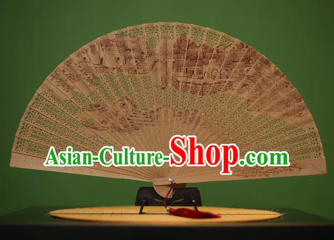 Traditional Chinese Crafts Sandalwood Folding Fan, China Handmade Carving Bridge Incienso Fans for Women
