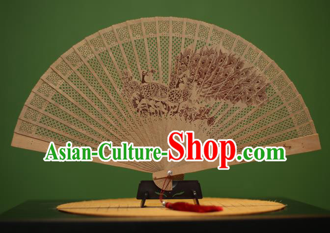 Traditional Chinese Crafts Sandalwood Folding Fan, China Handmade Carving Peacock Incienso Fans for Women