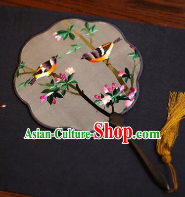 Traditional Chinese Crafts Suzhou Embroidery Palace Fan, China Princess Embroidered Peach Blossom Silk Fans for Women