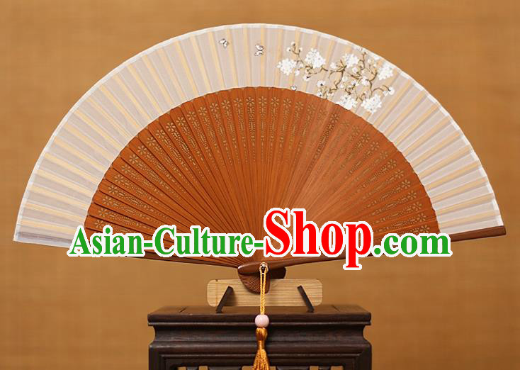 Traditional Chinese Crafts Printing Flowers Classical Folding Fan, China Handmade Brown Bamboo Silk Fans for Women