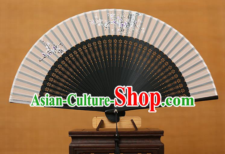 Traditional Chinese Crafts Printing Flowers Classical Folding Fan, China Handmade Black Bamboo Silk Fans for Women