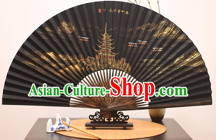 Traditional Chinese Crafts Printing Leifeng Pagoda Mulberry Paper Folding Fan, China Handmade Bamboo Palm Fans for Men