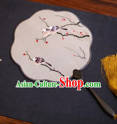 Traditional Chinese Crafts Suzhou Embroidery Palace Fan, China Princess Embroidered Bird Wintersweet Silk Fans for Women
