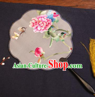 Traditional Chinese Crafts Suzhou Embroidery Palace Fan, China Princess Embroidered Butterfly Peony Silk Fans for Women
