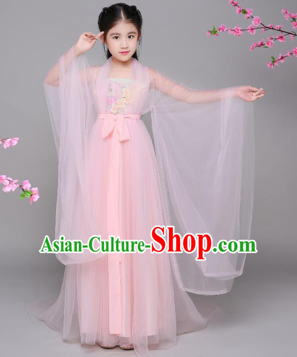 Traditional Chinese Tang Dynasty Princess Costume, China Ancient Palace Lady Fairy Hanfu Clothing for Kids