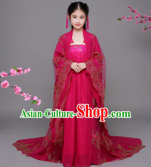 Traditional Chinese Tang Dynasty Imperial Consort Costume, China Ancient Palace Lady Embroidered Hanfu Clothing for Kids