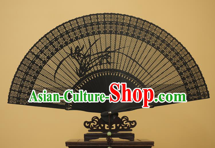 Traditional Chinese Crafts Hollow Out Orchid Folding Fan, China Handmade Sandalwood Black Fans for Women