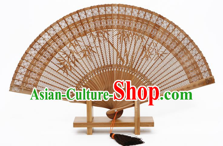 Traditional Chinese Crafts Hollow Out Bamboo Folding Fan, China Handmade Sandalwood Fans for Women