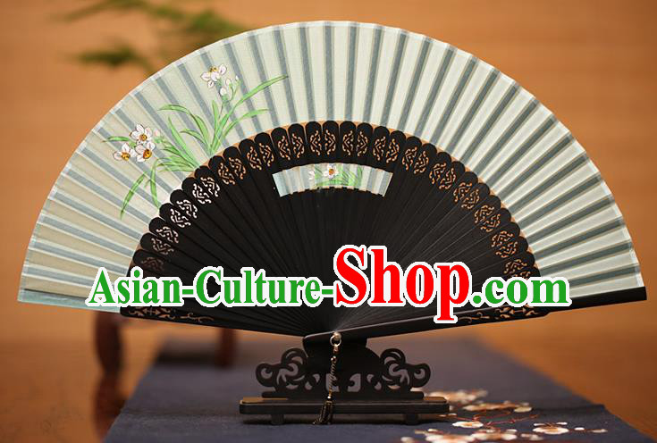 Traditional Chinese Crafts Printing Orchid Folding Fan, China Handmade Classical Green Silk Fans for Women