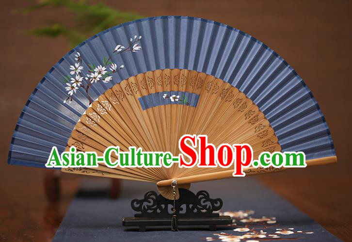 Traditional Chinese Crafts Printing Wintersweet Folding Fan, China Handmade Classical Blue Silk Fans for Women