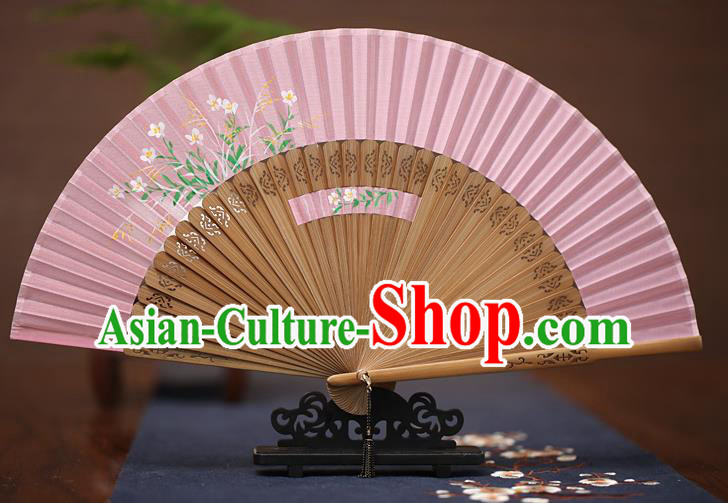 Traditional Chinese Crafts Printing Flowers Folding Fan, China Handmade Classical Pink Silk Fans for Women