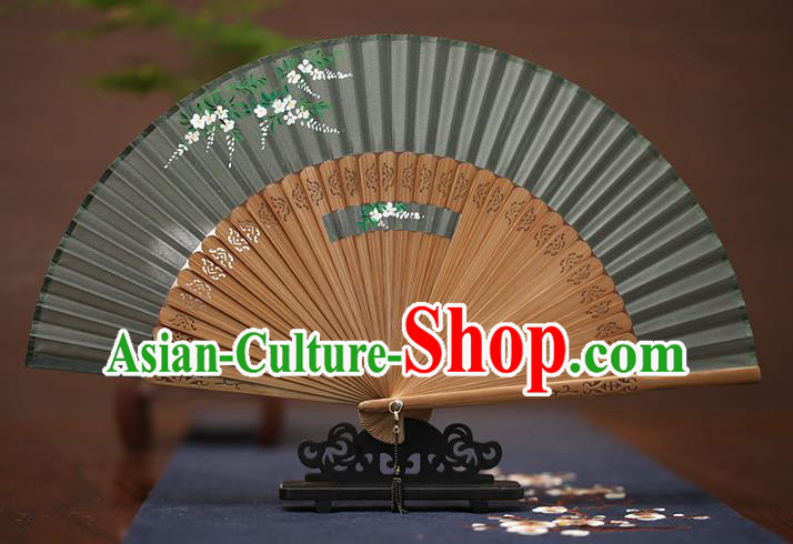 Traditional Chinese Crafts Printing Wisteria Folding Fan, China Handmade Classical Grey Silk Fans for Women