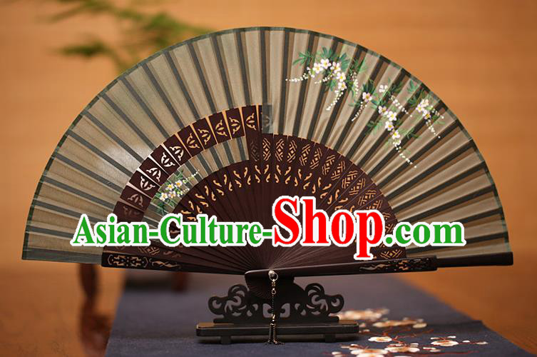 Traditional Chinese Crafts Printing Wisteria Folding Fan, China Handmade Classical Silk Fans for Women