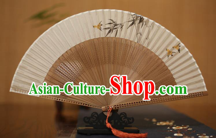 Traditional Chinese Crafts Printing Bamboo Leaf Folding Fan, China Handmade Classical Silk Pierced Fans for Women
