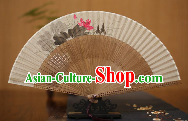 Traditional Chinese Crafts Printing Lotus Folding Fan, China Handmade Classical Silk Pierced Fans for Women