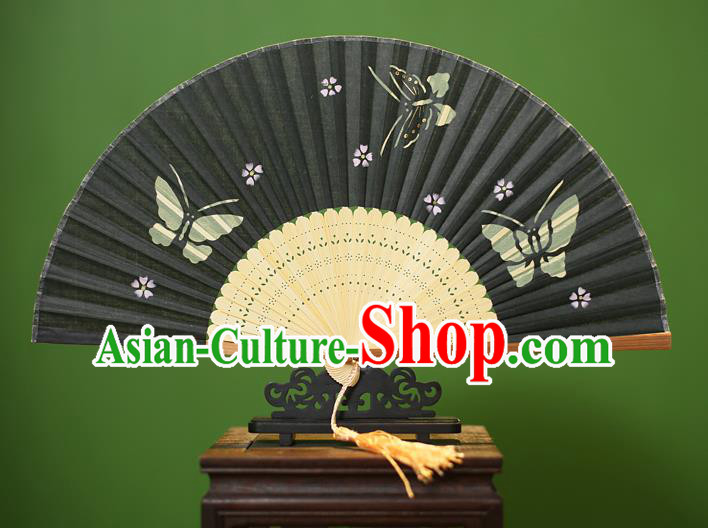 Traditional Chinese Crafts Printing Butterfly Folding Fan, China Handmade Classical Black Silk Fans for Women