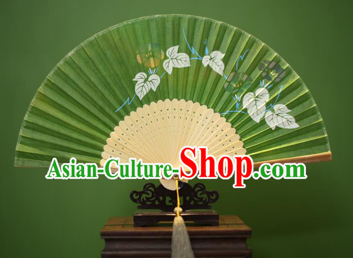 Traditional Chinese Crafts Printing Petunia Folding Fan, China Handmade Classical Green Silk Fans for Women