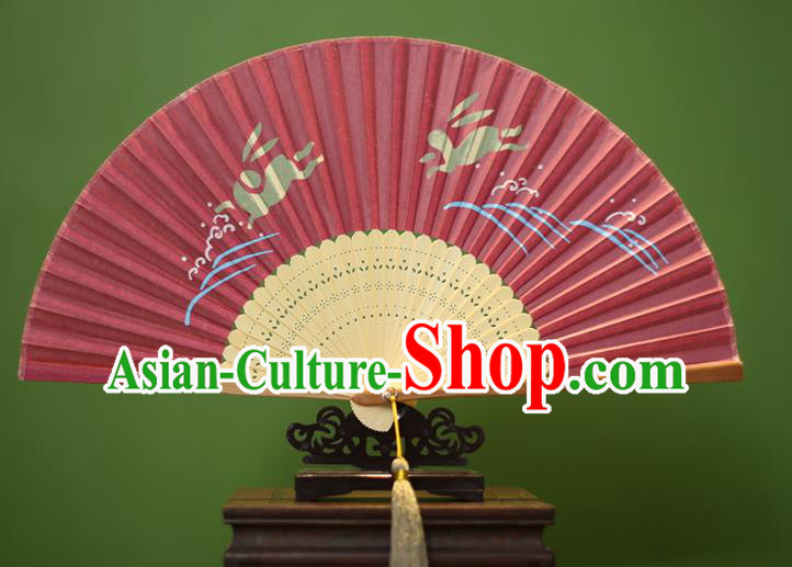 Traditional Chinese Crafts Printing Rabbit Folding Fan, China Handmade Classical Silk Fans for Women