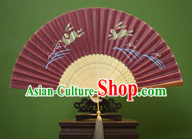 Traditional Chinese Crafts Printing Rabbit Folding Fan, China Handmade Classical Amaranth Silk Fans for Women