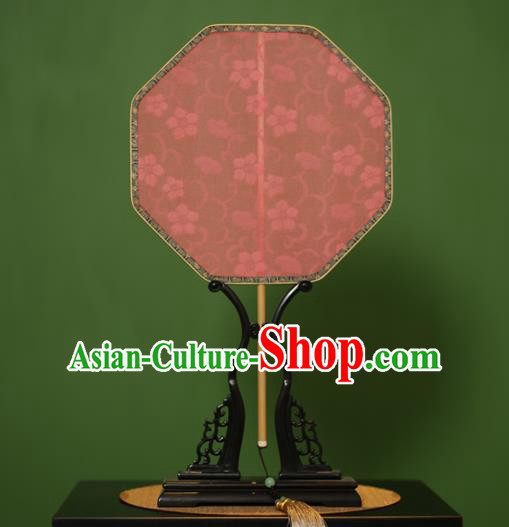 Traditional Chinese Crafts Jacquard Weave Pink Lace Palace Fan, China Handmade Princess Fans for Women