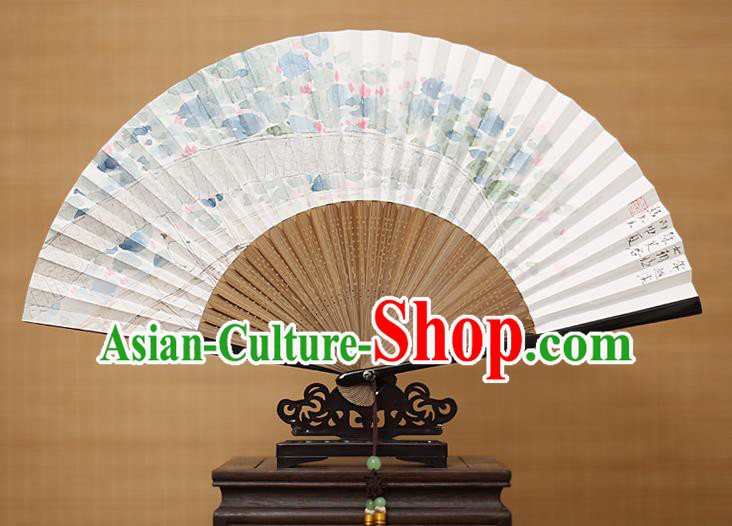Traditional Chinese Crafts Classical Paper Folding Fan, China Handmade Painting Lotus Flower Fans for Women