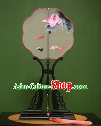 Traditional Chinese Crafts Suzhou Embroidery Lotus Fish Palace Fan, China Princess Embroidered Silk Fans for Women