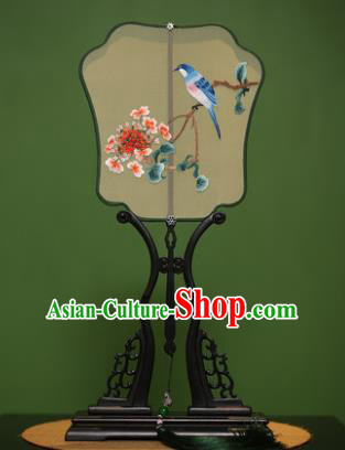 Traditional Chinese Crafts Suzhou Embroidery Butterfly Birds Palace Fan, China Princess Embroidered Silk Fans for Women