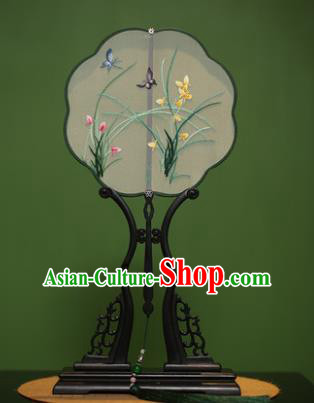Traditional Chinese Crafts Suzhou Embroidery Orchid Palace Fan, China Princess Embroidered Silk Fans for Women