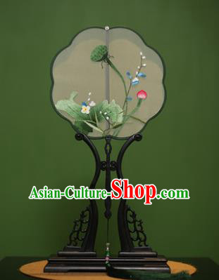 Traditional Chinese Crafts Suzhou Embroidery Lotus Palace Fan, China Princess Embroidered Silk Fans for Women