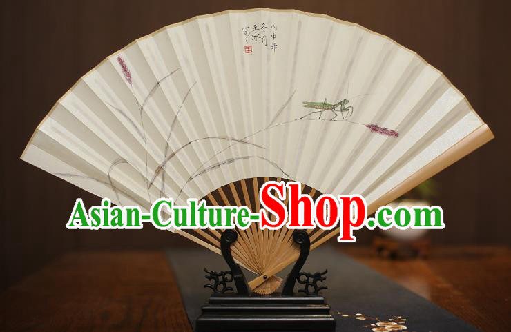 Traditional Chinese Crafts Collectables Autograph Xuan Paper Folding Fan, China Hand Painting Fans for Men
