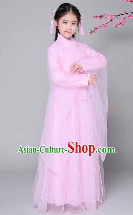 Traditional Chinese Ancient Princess Fairy Costume, China Han Dynasty Palace Lady Hanfu Clothing for Kids