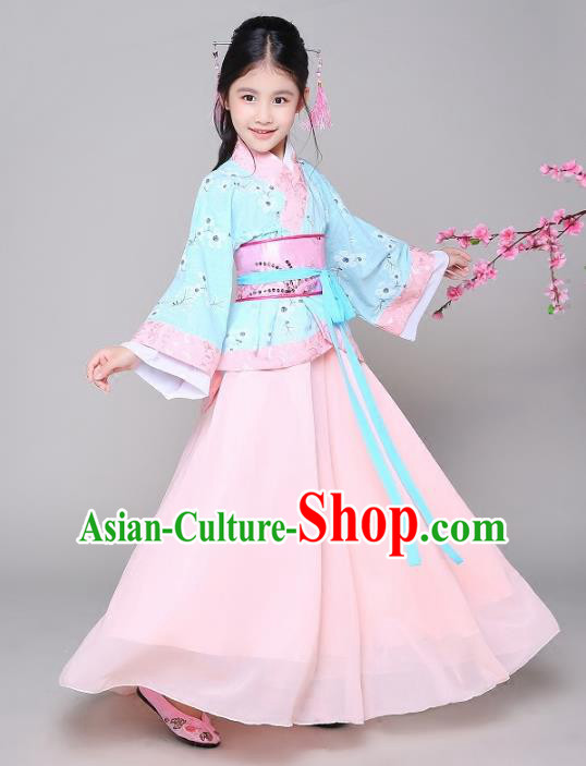 Traditional Chinese Han Dynasty Princess Hanfu Clothing, China Ancient Palace Lady Costume for Kids