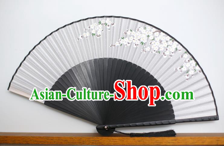 Traditional Chinese Crafts Printing Peach Blossom Classical Folding Fan, China Handmade Silk Fans for Women