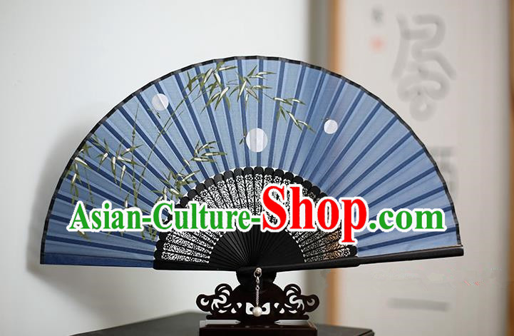 Traditional Chinese Crafts Printing Bamboo Classical Folding Fan, China Handmade Blue Silk Fans for Women