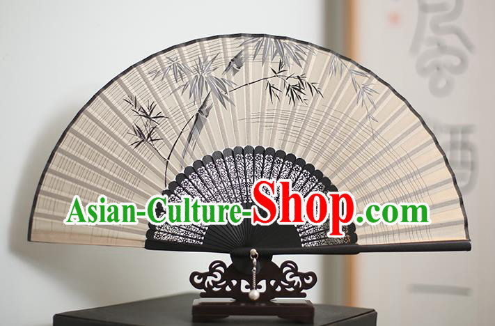 Traditional Chinese Crafts Printing Bamboo Classical Folding Fan, China Handmade Silk Fans for Women