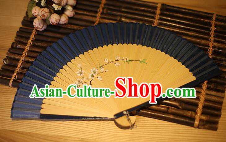 Traditional Chinese Crafts Printing Peach Blossom Classical Folding Fan, China Handmade Navy Silk Fans for Women