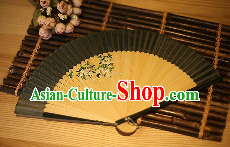 Traditional Chinese Crafts Printing Wisteria Classical Folding Fan, China Handmade Silk Fans for Women