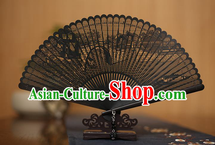 Traditional Chinese Crafts Hollow Out Ebony Folding Fan, China Handmade Sandalwood Black Fans for Women