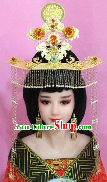 Chinese Ancient Bride Hair Accessories Xiuhe Suit Phoenix Coronet, China Empress Tassel Hairpins Headwear for Women