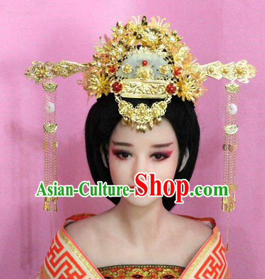 Traditional Chinese Handmade Hair Accessories Bride Wedding Phoenix Coronet Tassel Hairpins for Women