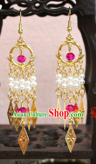 Traditional Chinese Handmade Jewelry Accessories Bride Beads Tassel Earrings Hanfu Eardrop for Women