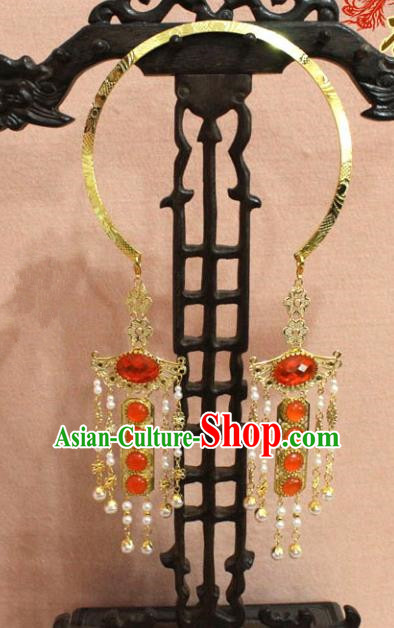 Traditional Chinese Handmade Jewelry Accessories Ancient Bride Necklace Hanfu Red Crystal Necklet for Women