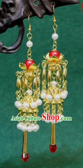 Traditional Chinese Handmade Jewelry Accessories Xiuhe Suit Bride Pearls Tassel Earrings Hanfu Eardrop for Women
