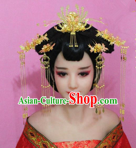 Traditional Chinese Handmade Wedding Hair Accessories Ancient Bride Tassel Hairpins Phoenix Coronet Headwear for Women