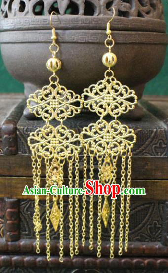 Traditional Chinese Handmade Jewelry Accessories Xiuhe Suit Bride Golden Earrings Hanfu Eardrop for Women
